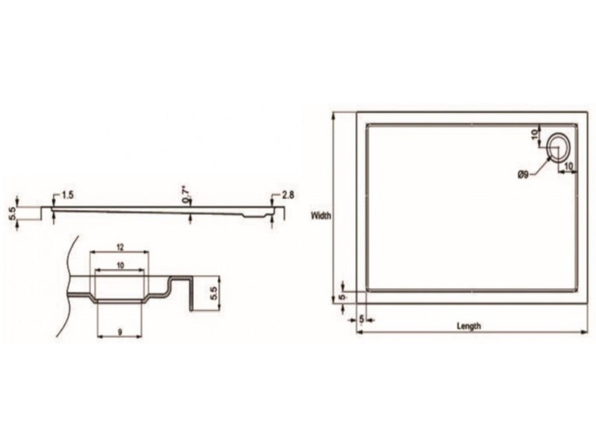 KARAG pravokotna tuš kad New Flat 2A 90x75 cm