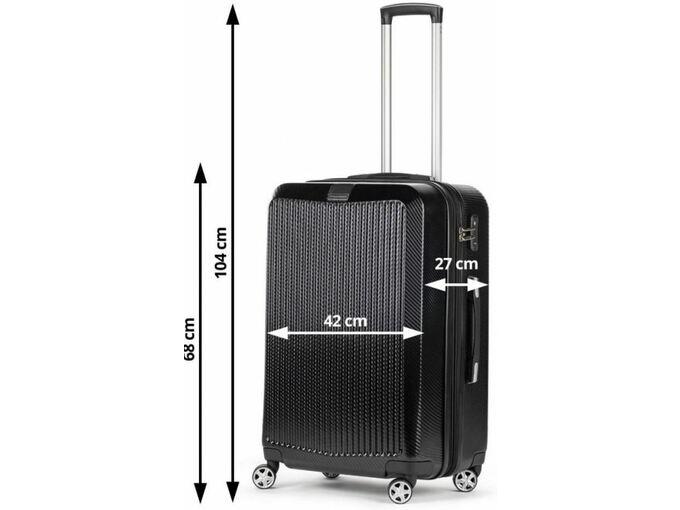 Scandinavia Travel potovalni kovček Carbon Series 60L 20092, črna - ODPRTA EMBALAŽA