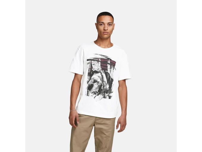 JACK&JONES Moška majica kratek rokav 12185185 CLOUD DANCER/RELAXED L / INTL BELA