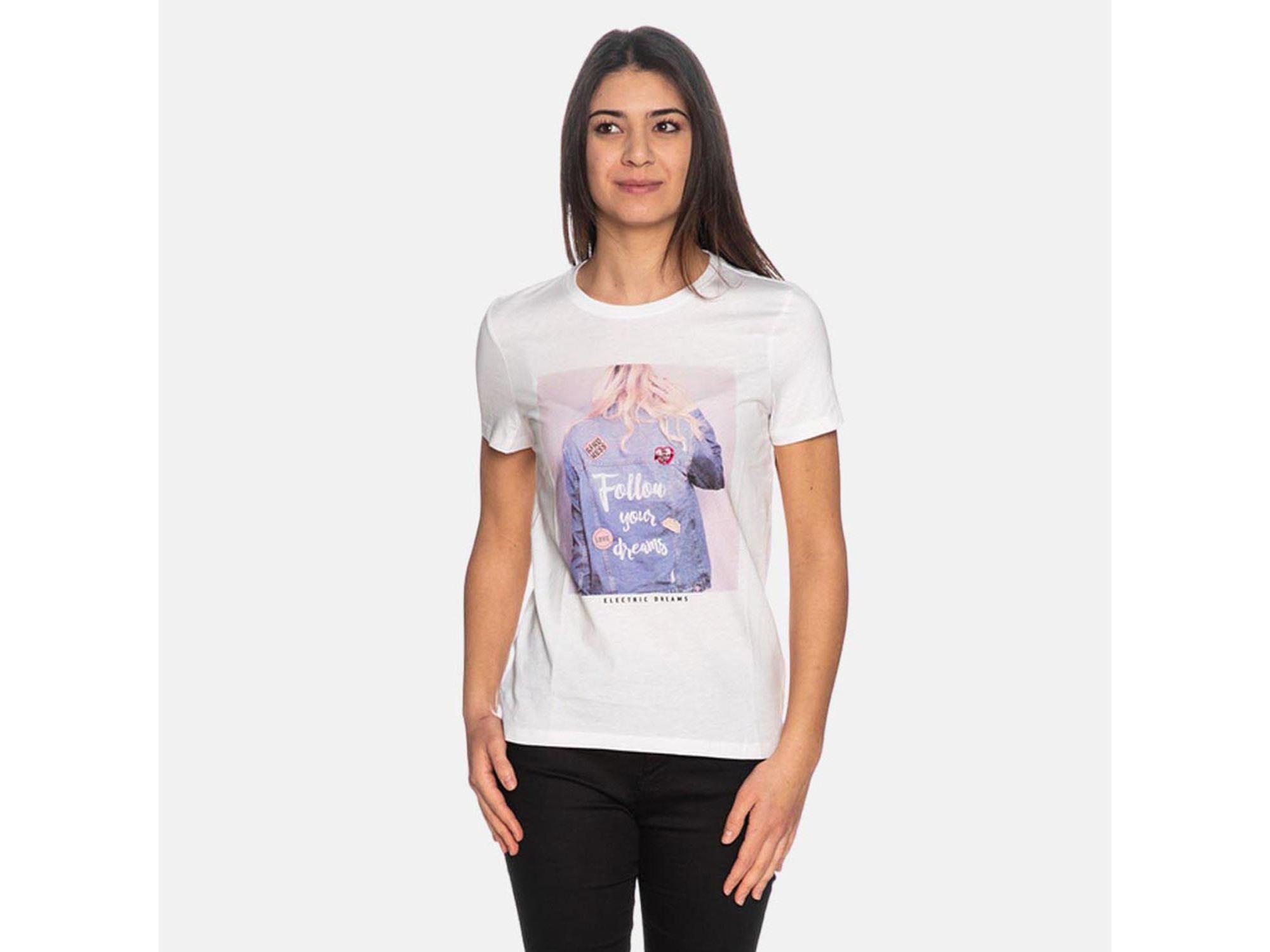 ONLY Ženska majica kratek rokav 15226025 BRIGHT WHITE/FOLLOW L / INTL BELA