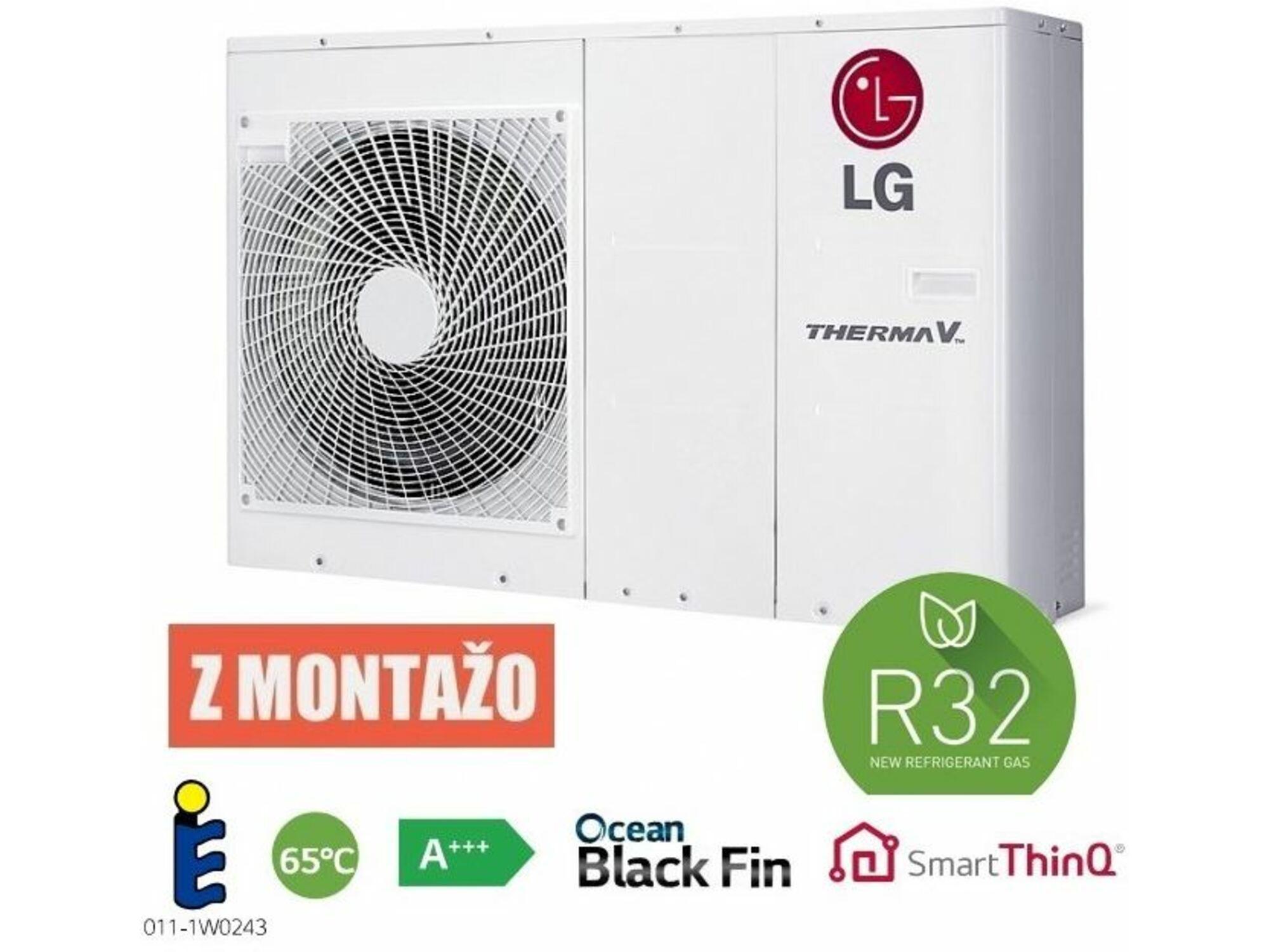 LG toplotna črpalka zrak/voda z montažo z bojlerjem Therma V Monoblok HM071M.U43 - 7 kW